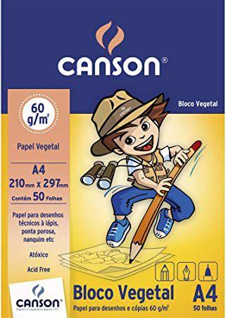 Bloco papel vegetal A4 - 60g/m2 - 50 folhas - Canson