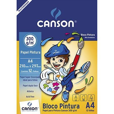 Bloco papel para pintura A4 - 300g/m2 - 12 folhas - Canson