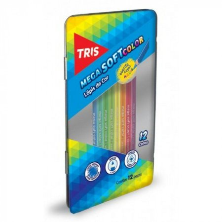 Lápis de cor - 12 cores - estojo de lata - Tris
