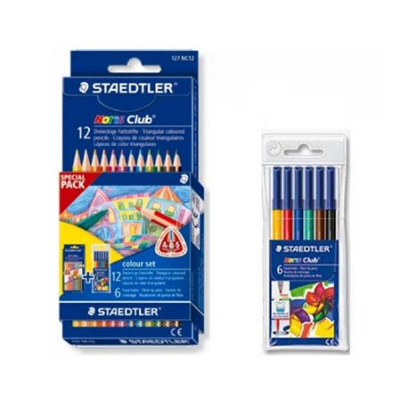 Conjunto 12 lápis de cor + 6 canetas hidrográficas ponta fina -Special Pack -  Staedlter