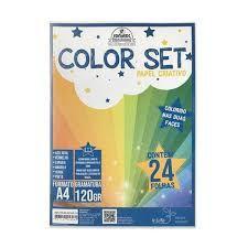 Papel colorset A4 - 120g/m2 - 24 folhas - 6 cores - Romitec
