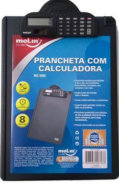 Prancheta plástica com calculadora - fonte de energia solar e bateria - suporte para caneta/lápis - Molin