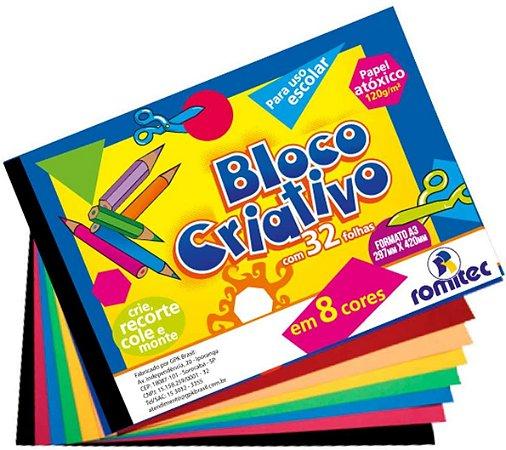 Papel colorset  Bloco Criativo - A3 - 32 folhas - 8 cores - 120g/m2 - Romitec