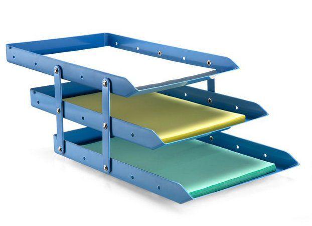 Caixa para correspondência tripla móvel - 3 andares - azul - Maxcril