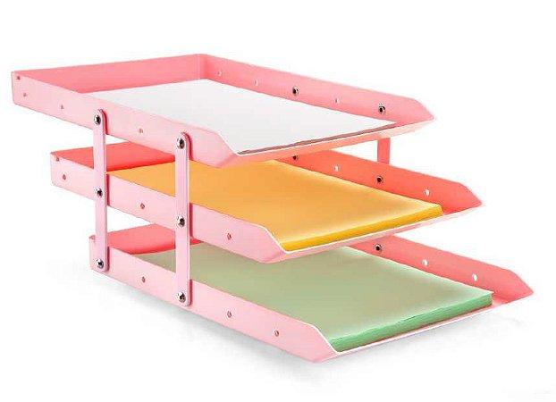 Caixa para correspondência tripla móvel - 3 andares - rosa - Maxcril