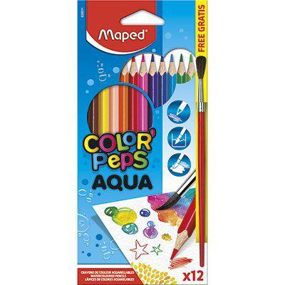 Lápis de cor aquarelável 12 cores + 1 pincel - Maped