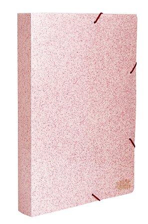 Pasta aba elástico ofício gliter rosa - lombada 4cm - COM AROMA - Dello