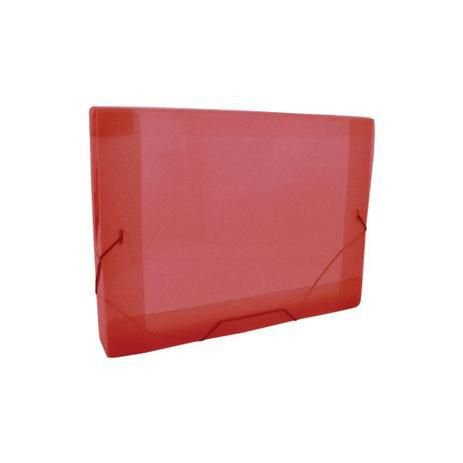 Pasta plástica com aba elástico ofício - lombada de 20mm - vermelha - DAC