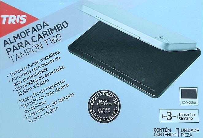 Almofada para carimbo - tinta preta - 10,6cm x 6,8cm - tampa e fundo metálico - Tris