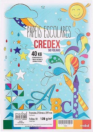 Papel de desenho A4 - branco - 180g/m2 - pacote com 50 folhas - Credeal