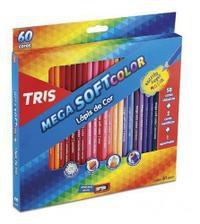 Lápis de cor 60 cores - 58 clássicas + 2 cores metálicas + apontador - Mega SoftColor Tris
