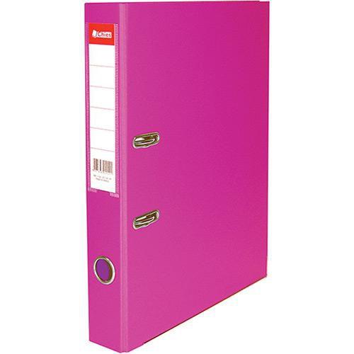 Pasta registradora AZ - ofício - 2 argolas - lombada estreita - rosa pink - Chies