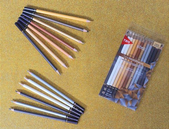 Lápis de cor - 12 cores - Tons Escandinavos - Vibes - Tris