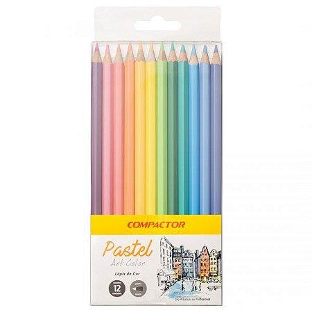 Lápis de cor - 12 cores - tons pastéis - Art Color Pastel - Compactor