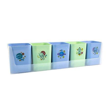 Kit Mundo da Lua - 05 porta objetos, 01 suporte e 01 cartela de adesivos - azul e verde - Dello