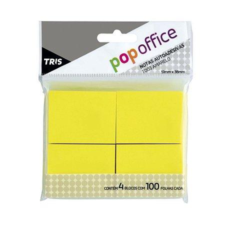 Notas autoadesivas T003 -amarelo - 51mmx38mm - 4 blocos com 100 folhas cada - Pop Office - Tris