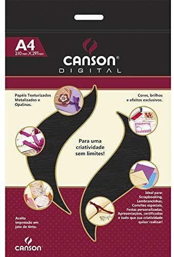 Papel micro cotele Preto - 180g/m2 - A4 -  15 folhas - Canson Digital