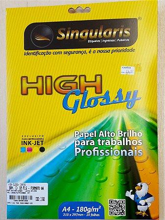 High Glossy - Papel alto brilho -  A4 - 180 g/m2 - envelope c/10 folhas - Singularis