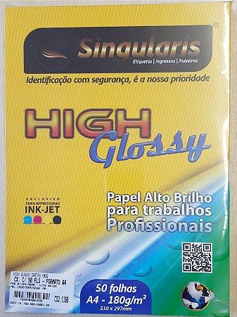 High Glossy - Papel alto brilho - A4 - 180g/m2 - cx. com 50 folhas - Singularis