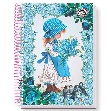 Caderno universitário - Sweet Dreams - 160 folhas - 10 matérias - fls decoradas - adesivos - envelope plástico - Tamoio