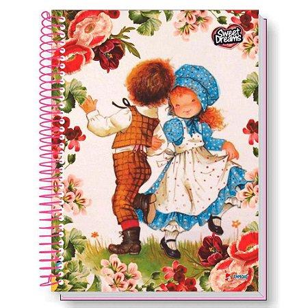 Caderno universitário Sweet Dreams - 96 folhas - 1 matéria - fls coloridas - adesivos - envelope plástico - Tamoio