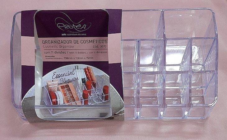 Organizador de Cosméticos - 11 divisórias - acrílico transparente - Dello