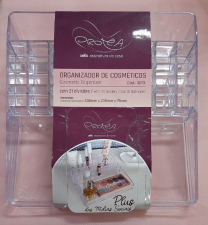 Organizador de cosméticos - 31 divisórias - acrílico transparente - Dello