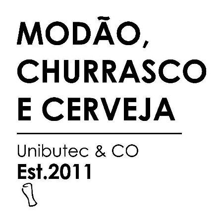 Adesivo Unibutec Modão, Churrasco E Cerveja Branco 9,5x9,5cm