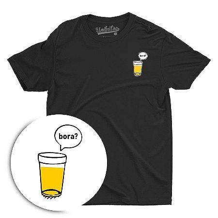 Camiseta Preta Unibutec Basic Copo de Cerveja, Bora?