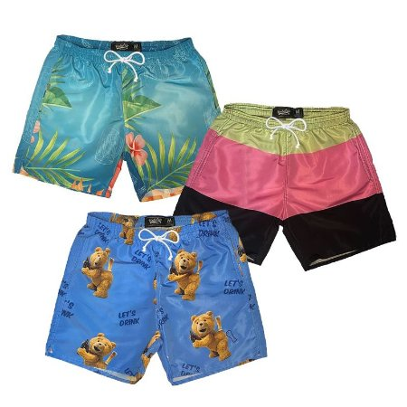 Kit Short Praia Unibutec - Ted Beer + Litras + Floral