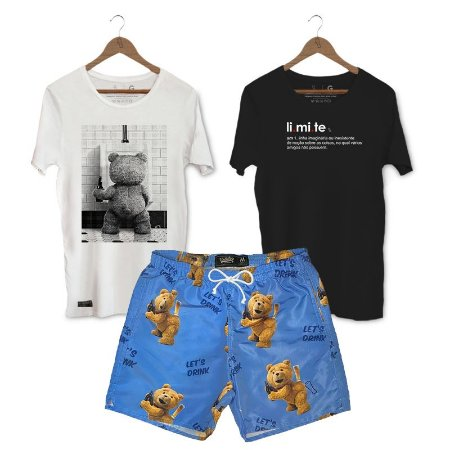 Kit Camisetas + Short Praia Unibutec - Ted + Limite