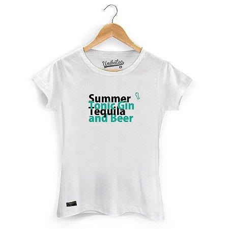 Camiseta Baby Look Unibutec Summer, Tonic Gin, Tequila and Beer