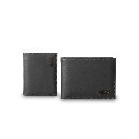 Carteira Unibutec Com Porta Cartão Couro Preto
