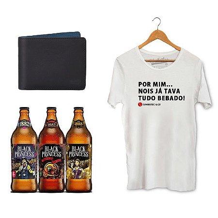 Kit Presente Camiseta Unibutec Tudo Bêbado + Carteira Unibutec + Cervejas Especiais Black Princess Doctor Weiss, Back to The Red e Miss Blond