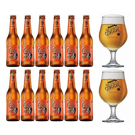 Kit 12 Cerveja Cacildis Long Neck 355ml + 2 Taças Beer Originals