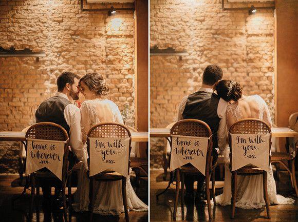 Placa para cadeira dos noivos - em tecido