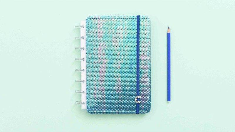Caderno Inteligente Azul Holografico - A5