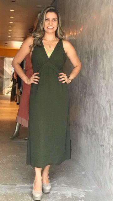 Vestido Longo Alça Verde
