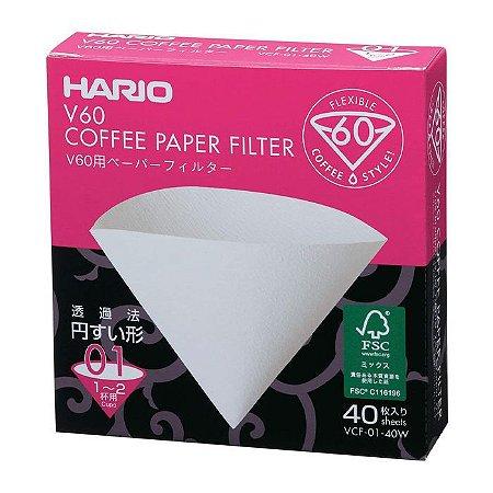 Filtros Hario V60-01 Papel Branco- Caixa 40un