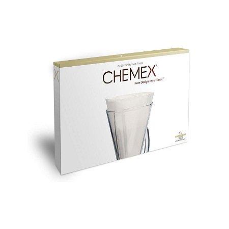 Filtro Chemex Pequeno Meia Lua branco sem dobra 100 Unidades