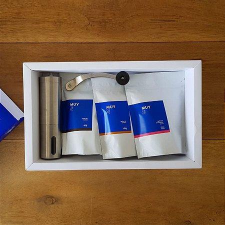 Box Tri Mineiro com grãos 150g cada + Moedor Manual