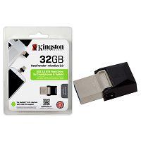 PEN DRIVE 32GB MICRODUO USB 3.0 KINGSTON DTDUO3/32GB PRATA@