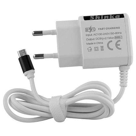 CARREGADOR TOMADA COM CABO MICRO USB 2.1A SHINKA SH-T008