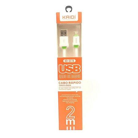 CABO USB IPHONE LIGHTNING 2M KAIDI KD-327A BRANCO 648301