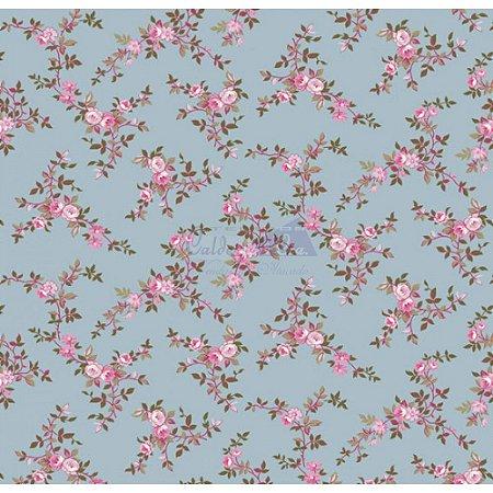 TRICOLINE FLORAL DI ROSE COR 02 100%ALGODÃO TT180620 ( AZUL VINTAGE)