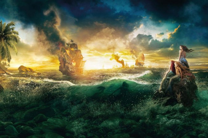 Quadro Piratas do Caribe - Navios e Sereias