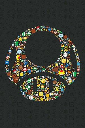 Quadro Gamer Mario - Cogumelo Minimalista