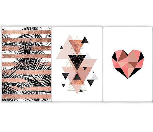 Kit 3 Quadros Decorativos Escandinavos - Folhas Triângulos Coração