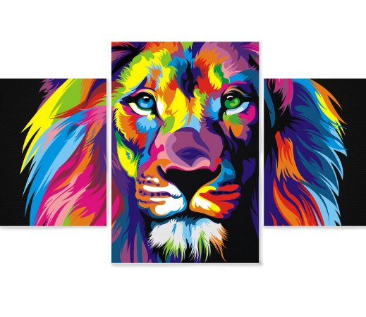 3 Quadros Decorativos Mosaico - Leão
