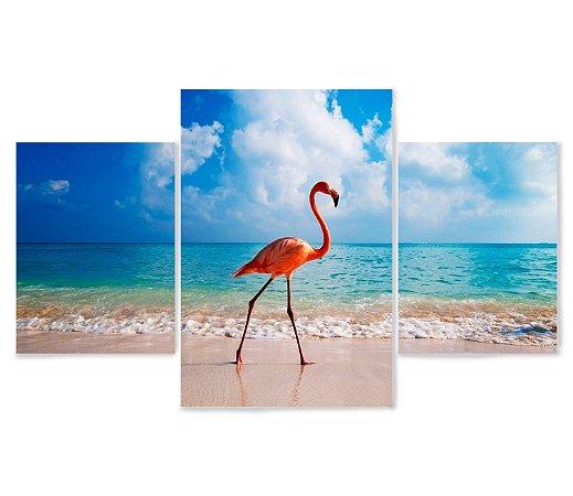 3 Quadros Decorativos Mosaico - Flamingo